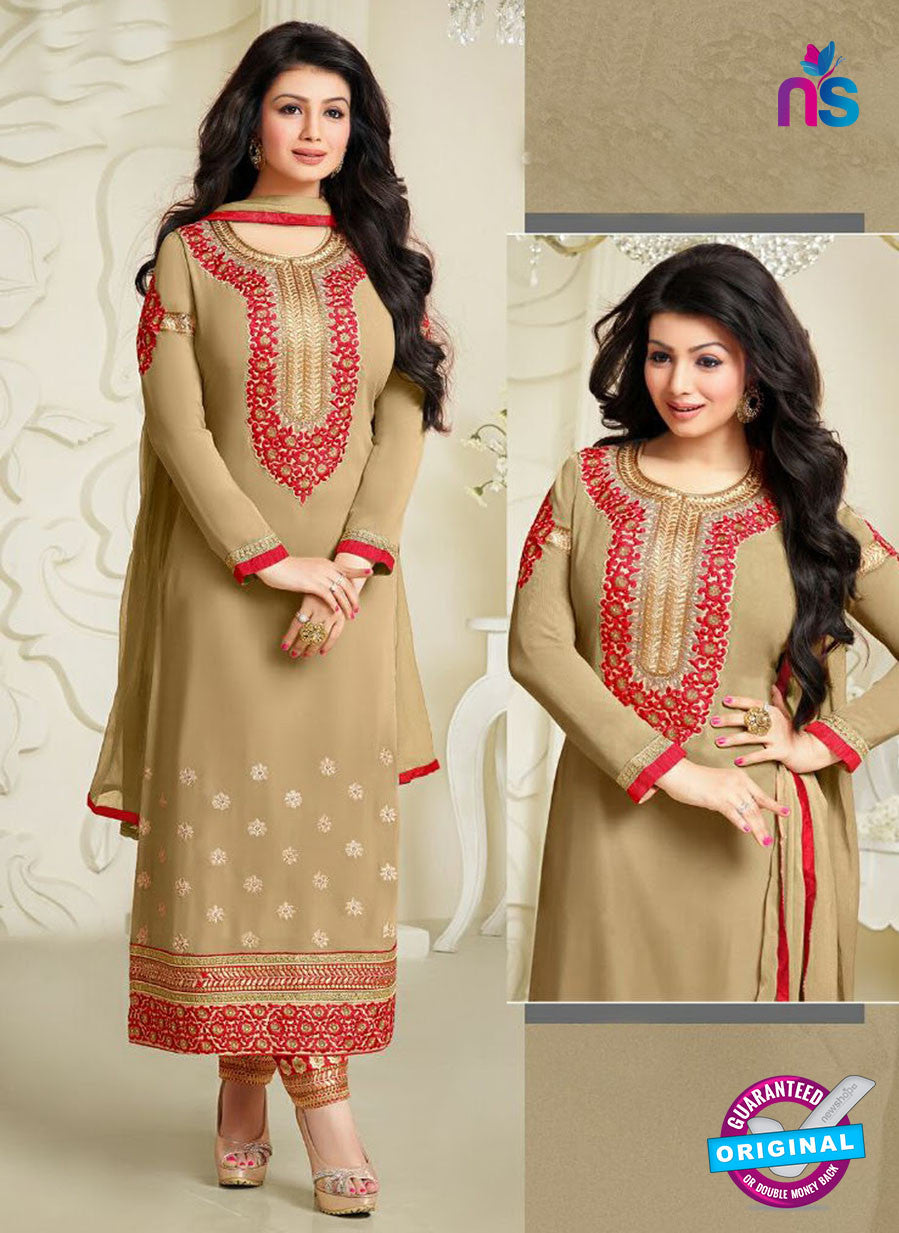 MF 74007 Brown and Red Party Wear Georgette Long Straight Suit