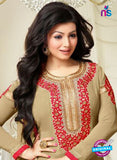 MF 74007 Beige Party Wear Georgette Long Straight Suit