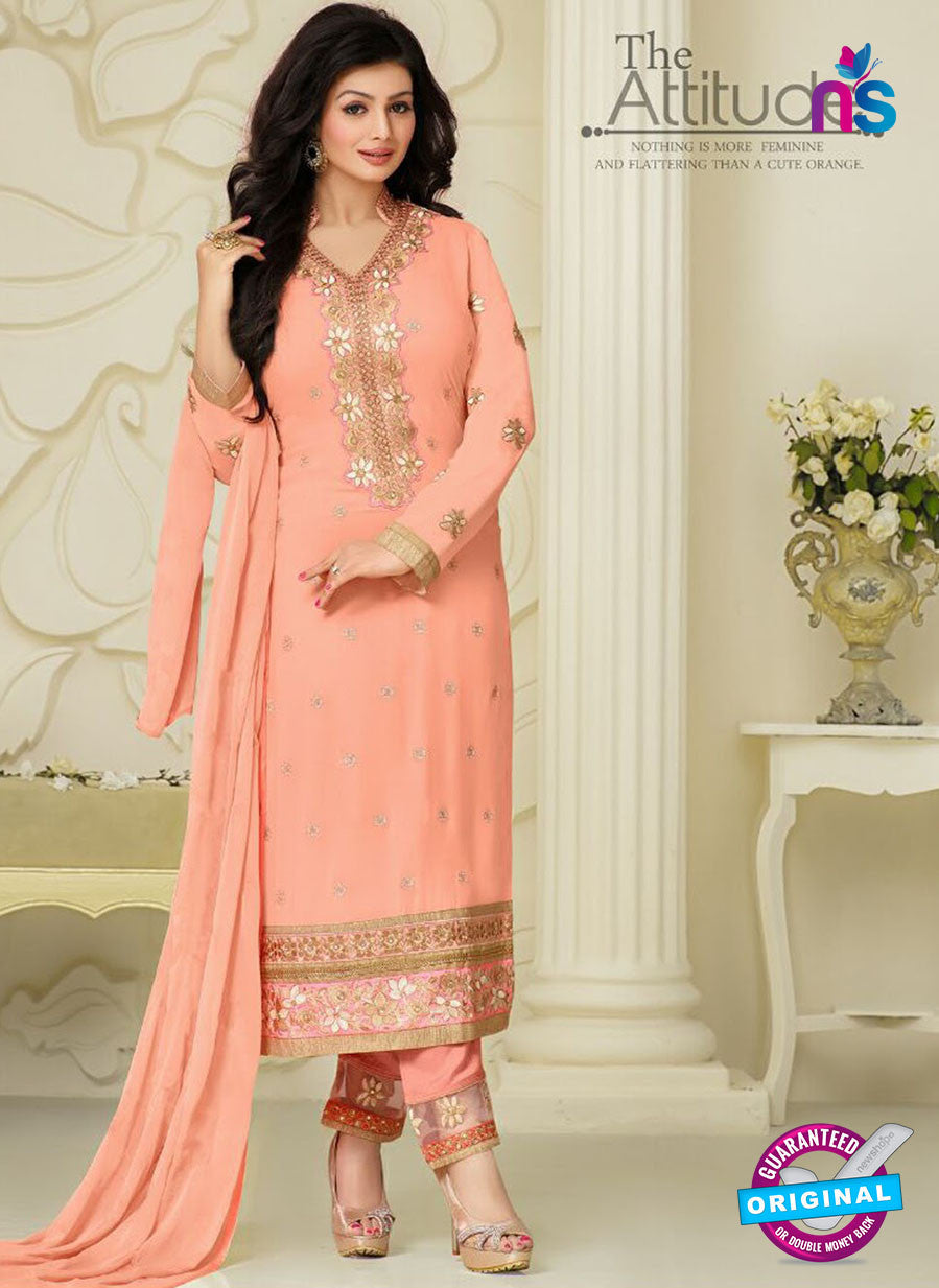 NS10025 Red Party Wear Georgette Long Straight Suit