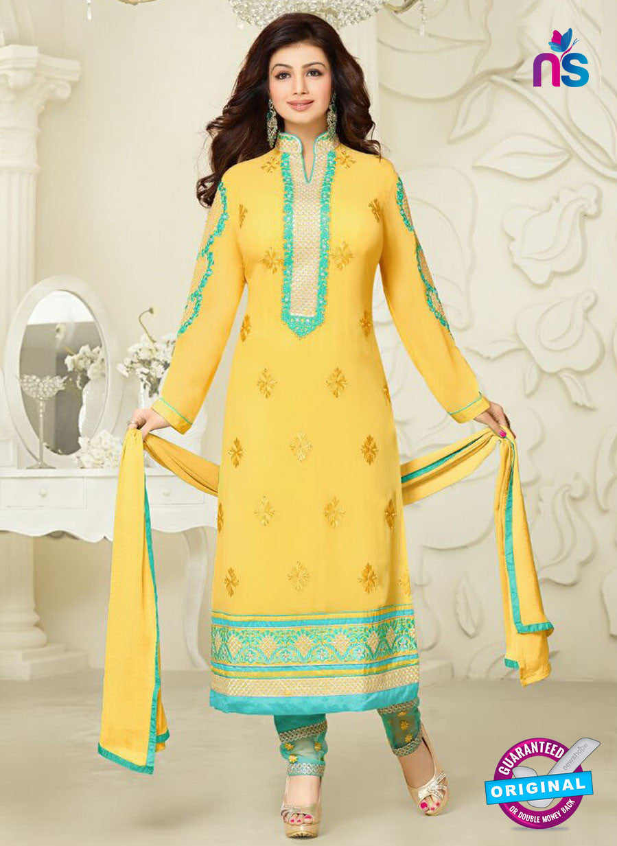 NS10026 Yellow Party Wear Georgette Long Straight Suit