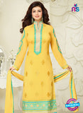 MF 74012 Yellow and Sea Green Party Wear Georgette Long Straight Suit