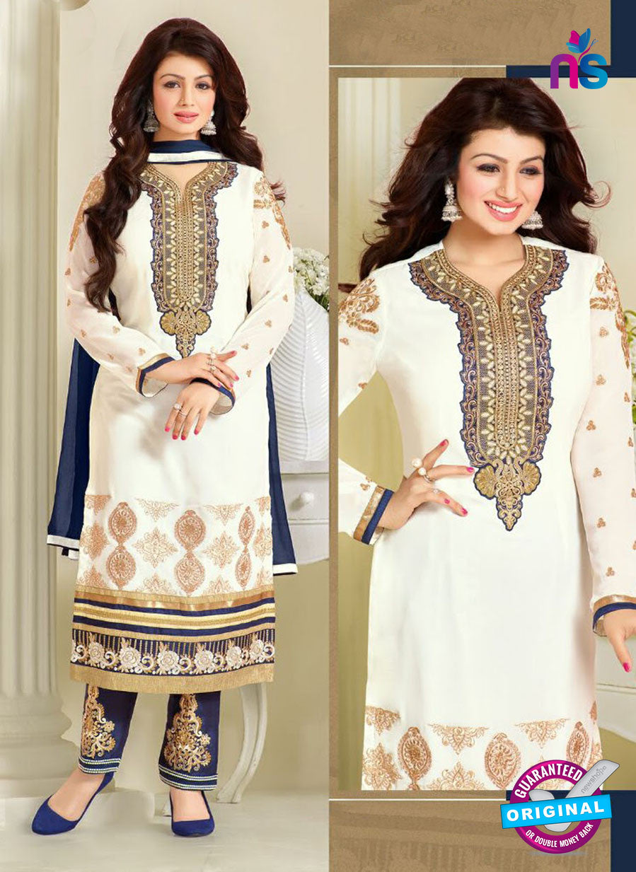 MF 74014 White and Blue Party Wear Georgette Long Straight Suit