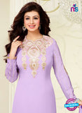 NS10028 Violet Party Wear Georgette Long Straight Suit