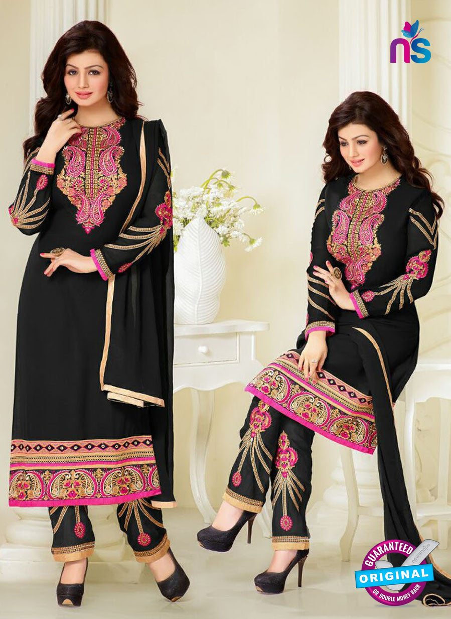 MF 74016 Black and Pink Party Wear Georgette Long Straight Suit