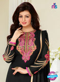 NS10029 Black Party Wear Georgette Long Straight Suit