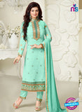 NS10030 Aqua Green Party Wear Georgette Long Straight Suit