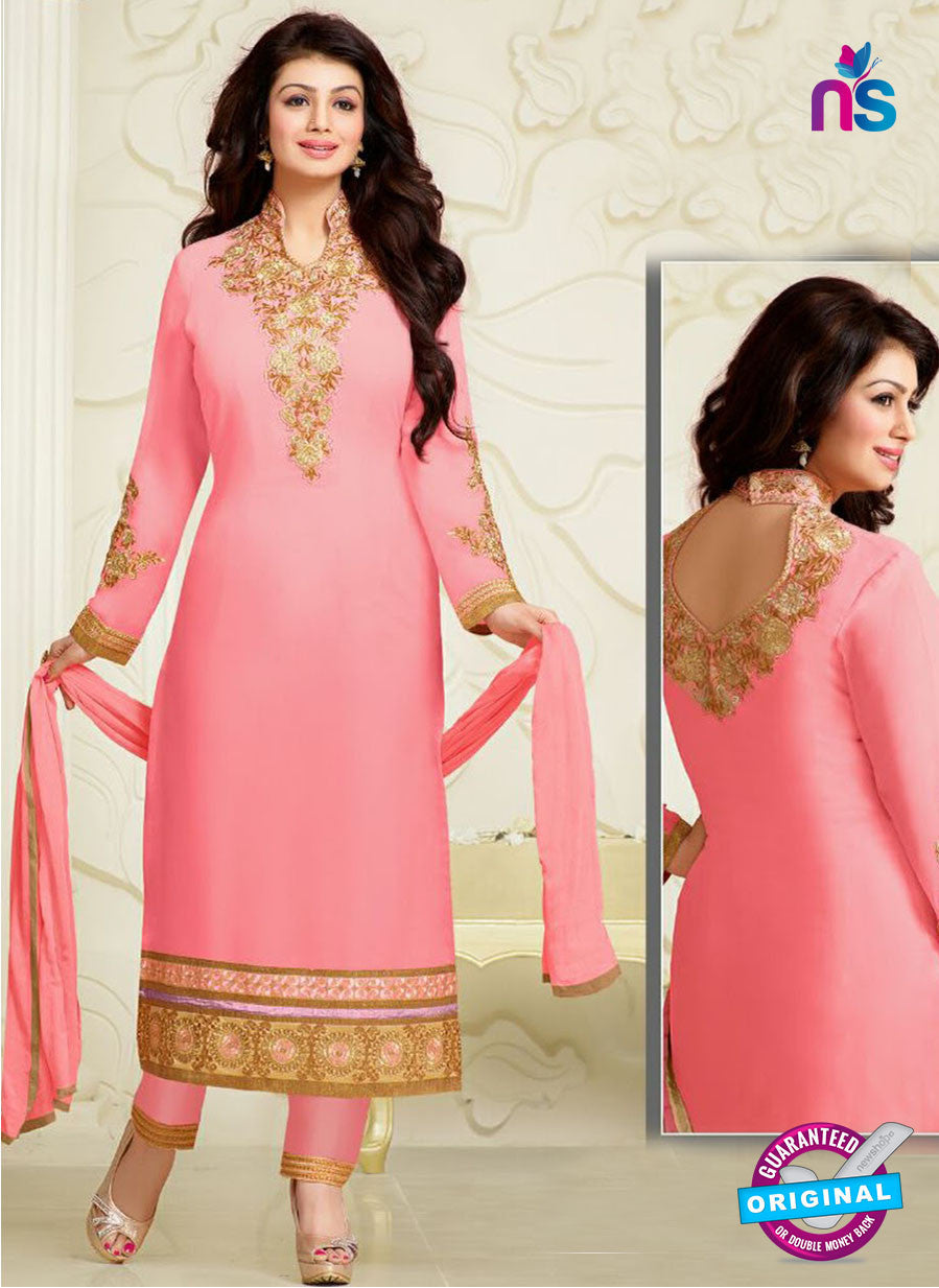 NS10031 Baby Pink Party Wear Georgette Long Straight Suit