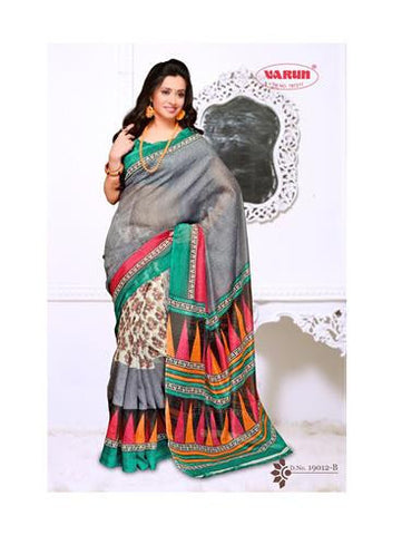 NS11842 B Sea Green and Slate Blue Cotton Based Saree