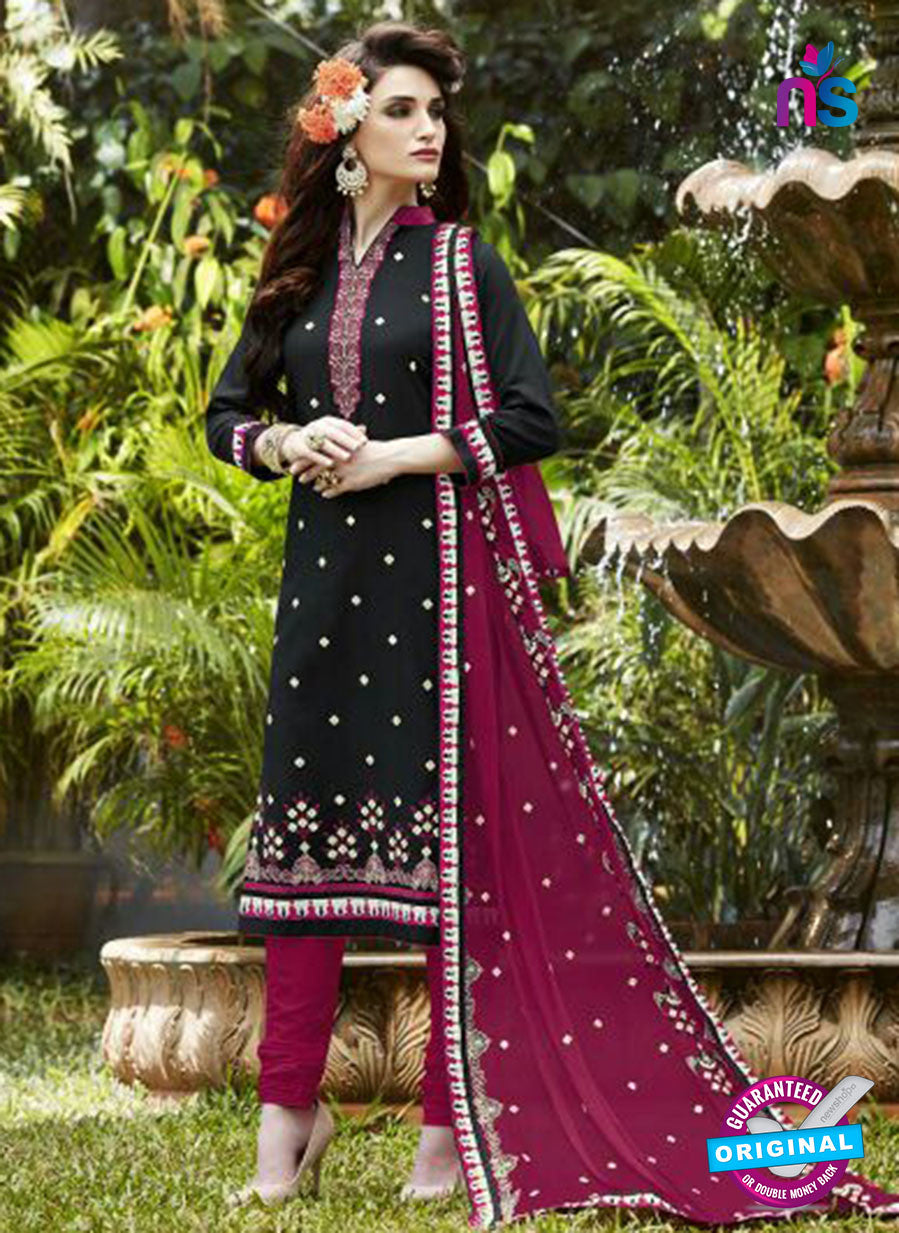 SC 13470 Black and Purple Cambric Cotton Designer Fancy Suit