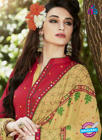 SC 13469 Red and Brown Cambric Cotton Designer Fancy Suit