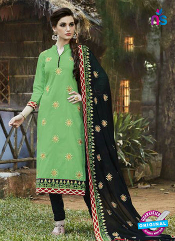 SC 13465 Green and Black Cambric Cotton Designer Fancy Suit