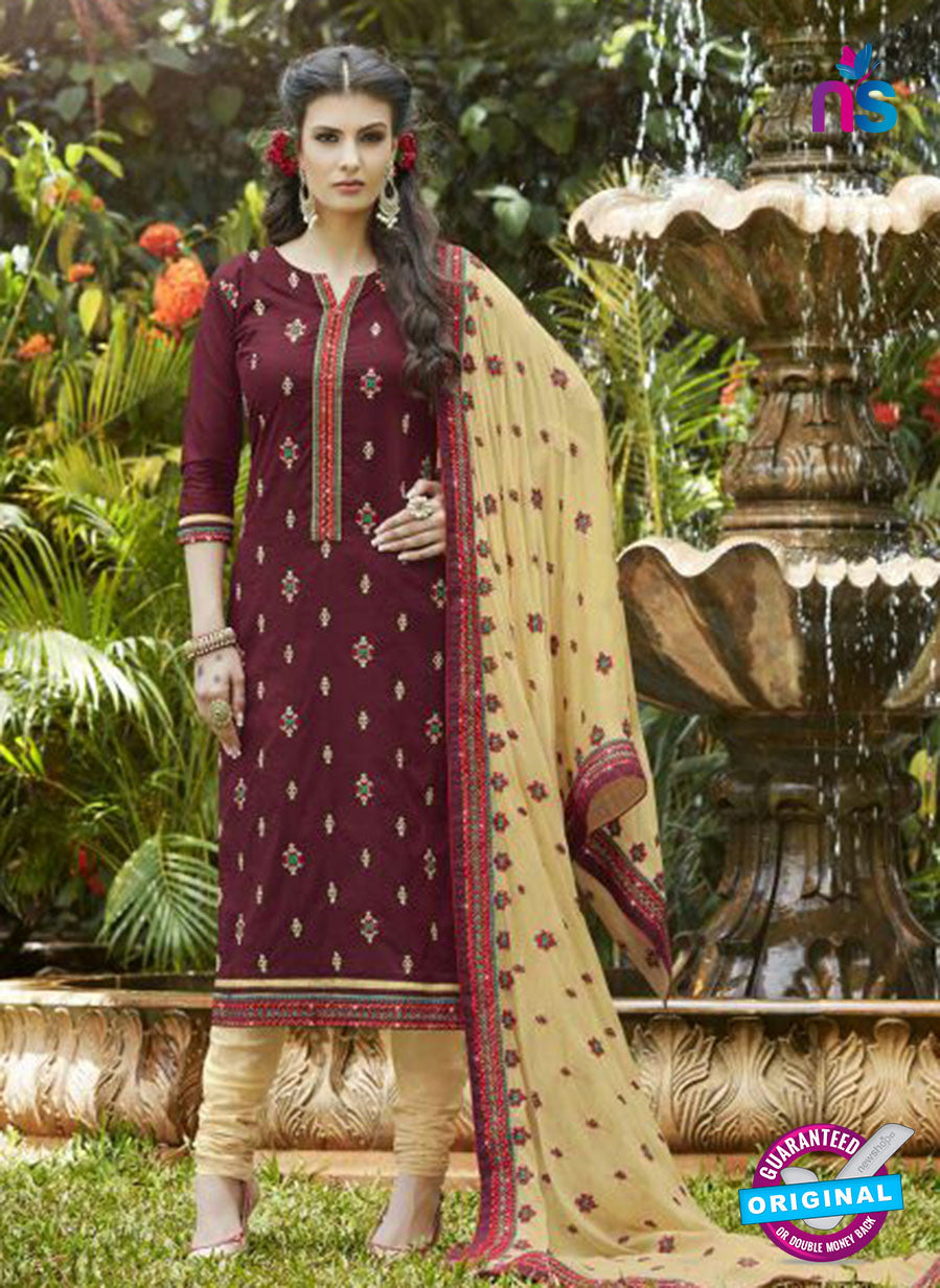 SC 13466 Brown and Beige Cambric Cotton Designer Fancy Suit
