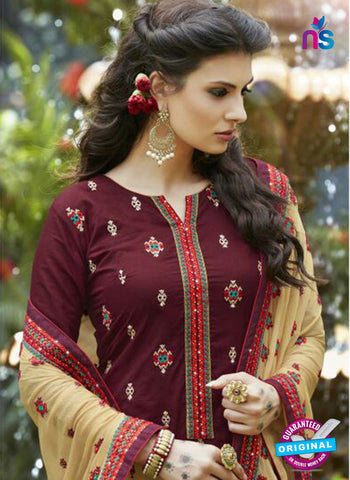 SC 13466 Maroon and Beige Cambric Cotton Designer Fancy Suit
