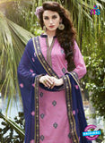 SC 13463 Pink and Blue Cambric Cotton Designer Fancy Suit