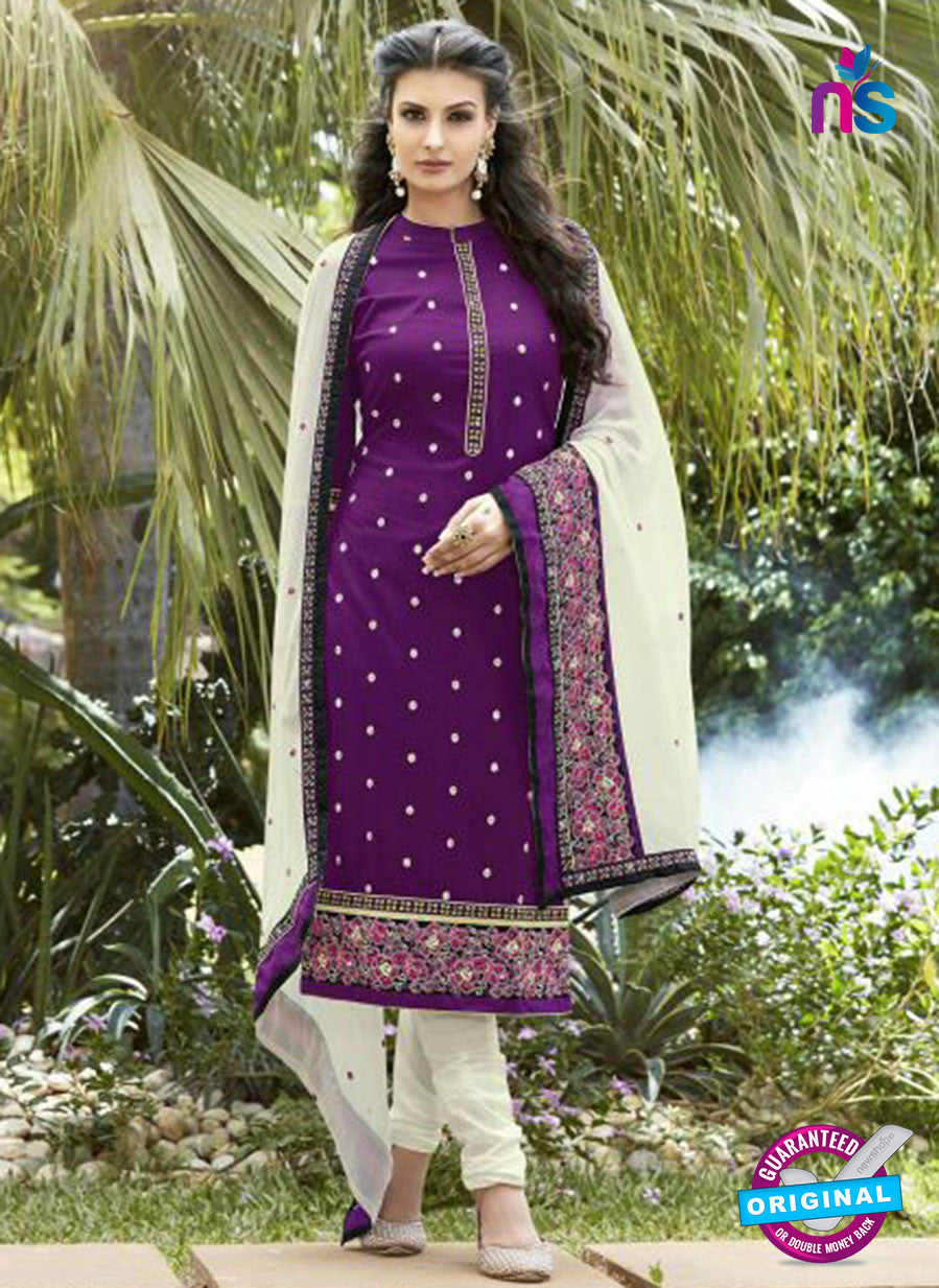 SC 13471 Purple and White Cambric Cotton Designer Fancy Suit