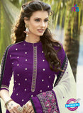 SC 13471 Purple and White Cambric Cotton Designer Fancy Suit Online