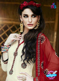 SC 13467 Beige and Maroon Cambric Cotton Designer Fancy Suit
