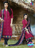 SC 13464 Magenta and Blue Cambric Cotton Designer Fancy Suit