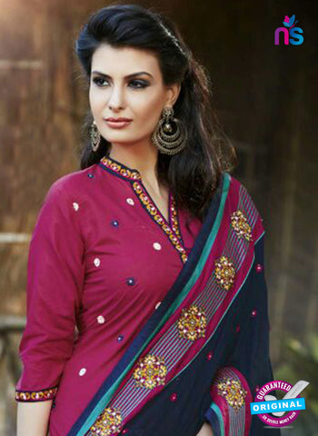 SC 13464 Magenta and Blue Cambric Cotton Designer Fancy Suit Online