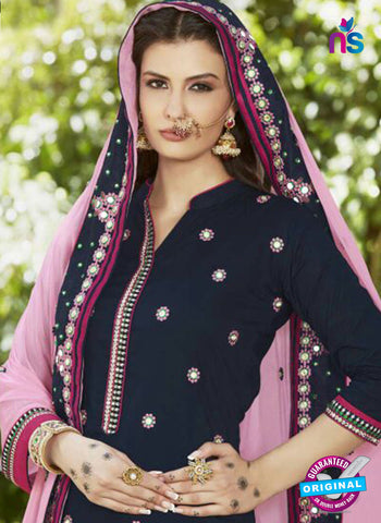 SC 13472 Blue and Pink Cambric Cotton Designer Fancy Suit
