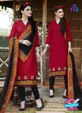 SC 13468 Red and Black Cambric Cotton Designer Fancy Suit