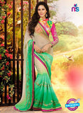 NS10067 Multicolor and Green Wedding Wear Chiffon Saree