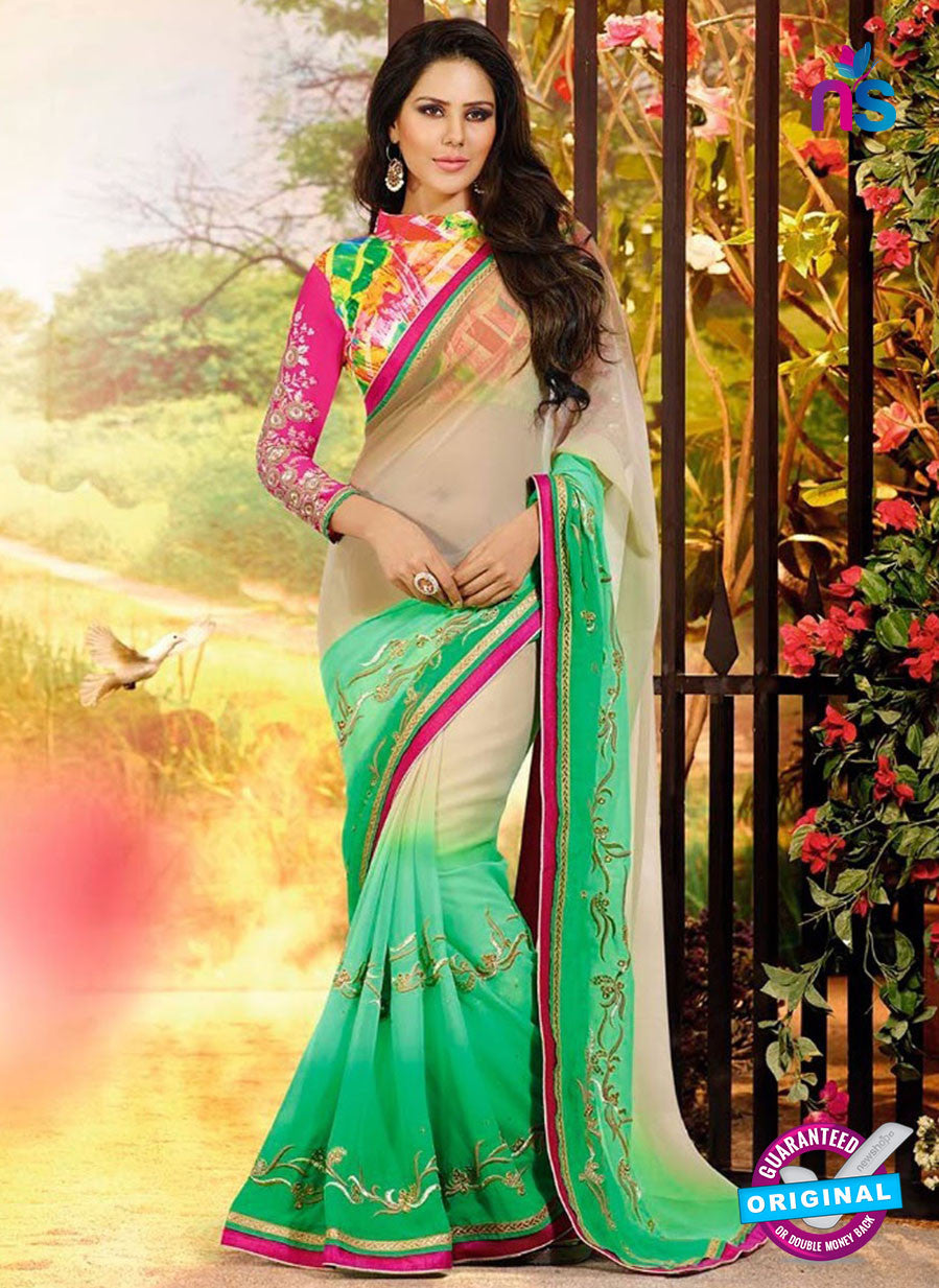 SC 12336 Beige and Green Wedding Wear Chiffon Saree