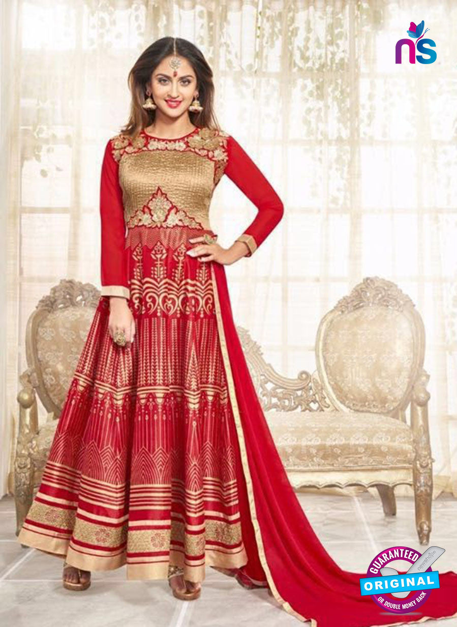 SC 12927 Red and Golden Printed Bhagalpuri with Embroidered Party Wear Anarkali Suit