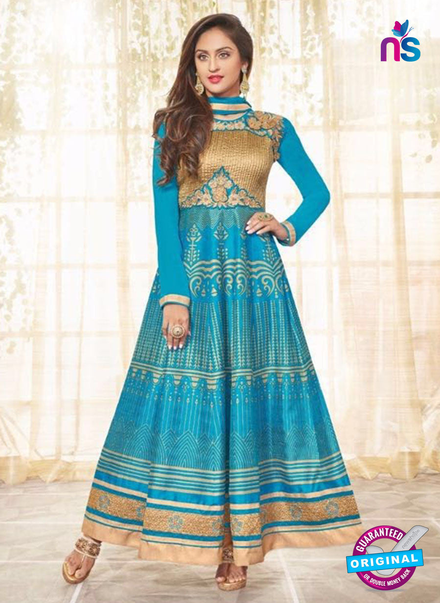 SC 12928 SkyBlue and Golden Printed Bhagalpuri with Embroidered Party Wear Anarkali Suit