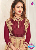 SC 12929 Maroon and Brown Printed Bhagalpuri with Embroidered Party Wear Anarkali Suit