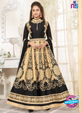 SC 12930 Black and Golden Printed Bhagalpuri with Embroidered Party Wear Anarkali Suit