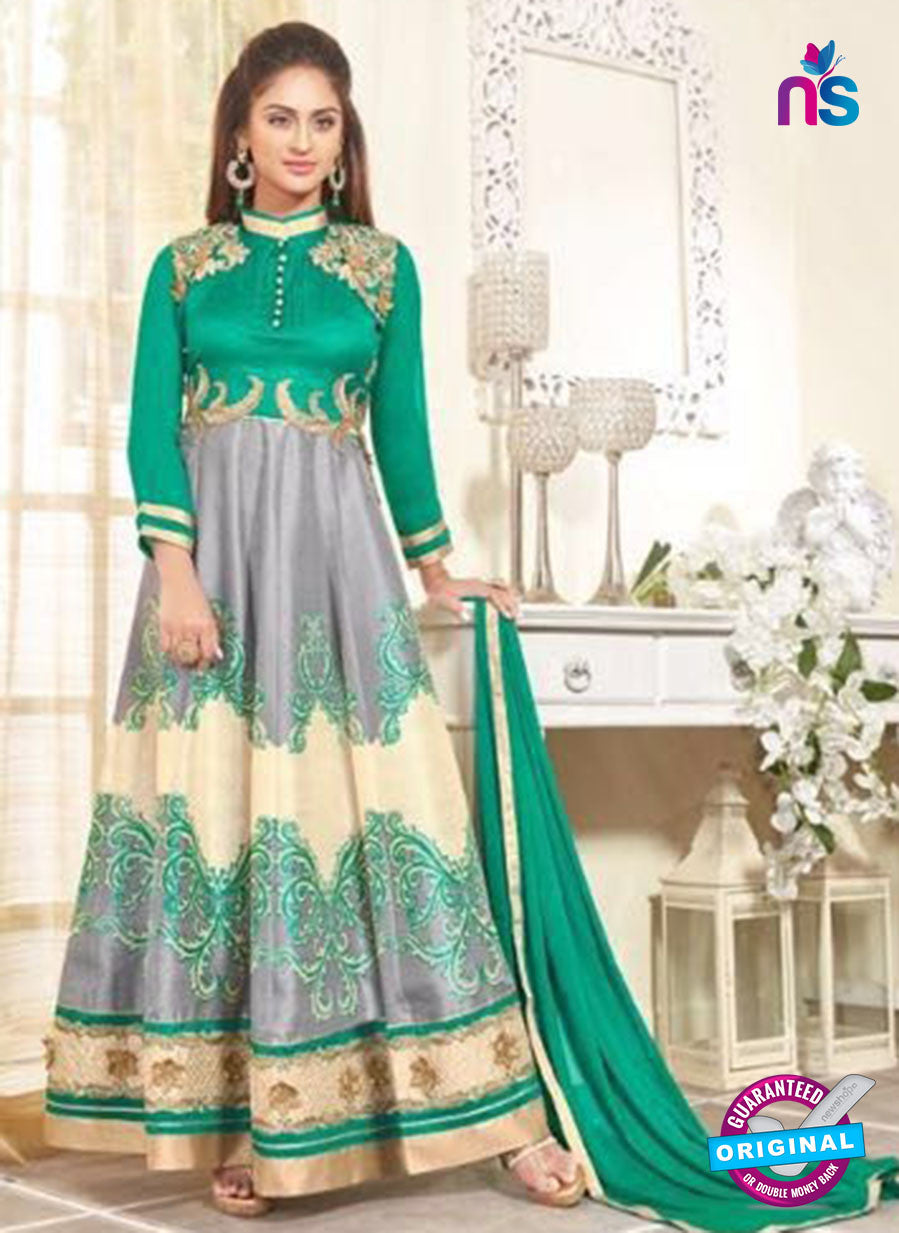 SC 12932 Green and Grey Printed Bhagalpuri with Embroidered Party Wear Anarkali Suit