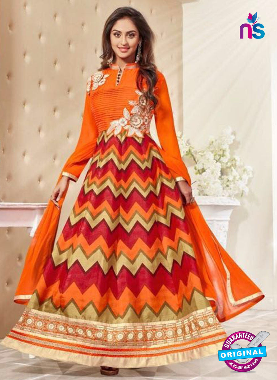 SC 12933 Orange, Red and Golden Printed Bhagalpuri with Embroidered Party Wear Anarkali Suit