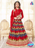 SC 12934 Red, Grey and Golden Printed Bhagalpuri with Embroidered Party Wear Anarkali Suit