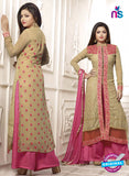 NS11032 Brown and Pink Designer Georgette Plazo Suit