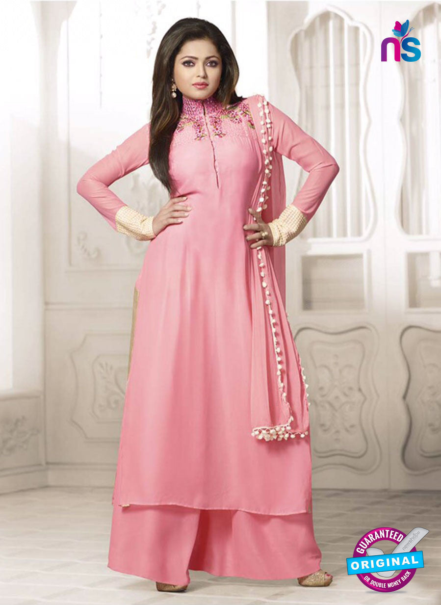 NS11033  Pink Georgette Designer Plazo Suit
