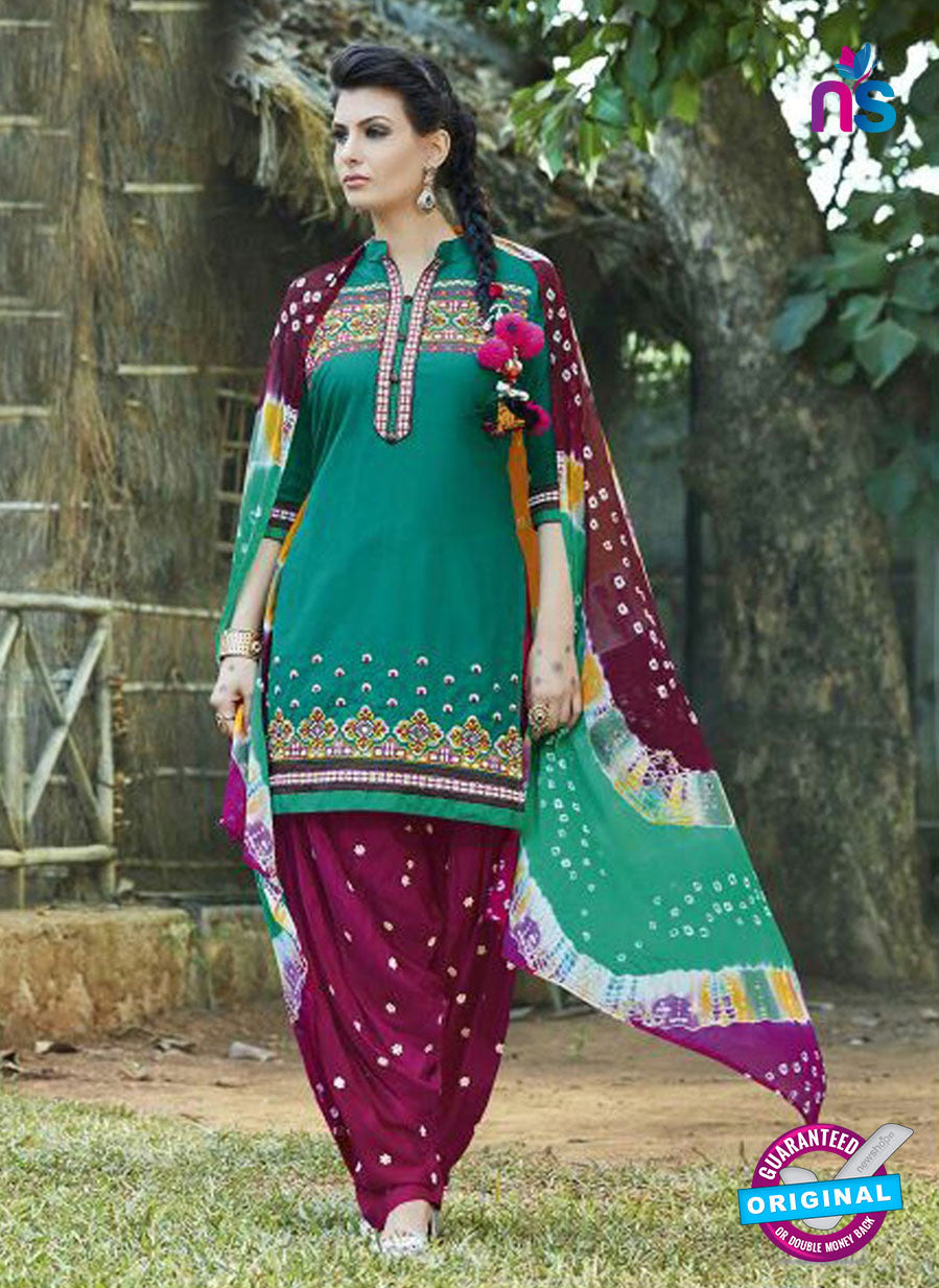 SC 13565 Sea Green and Purple Designer Fancy Traditional Salwar Patiala Suit
