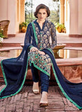Omtex 75 Blue Color Chiffon Designer Suit