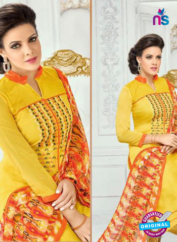 SC 13360 Yellow Chanderi Cotton and Orange Designer Long Straight Suit