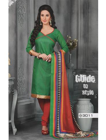 NS11451 Green and Red Jute Silk Chudidar Suit