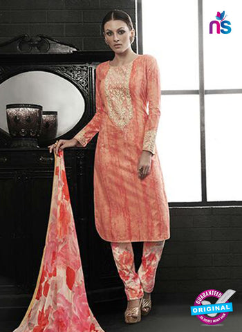 Az 2137 Orange Cambric Cotton Embroidery Pakistani Suit