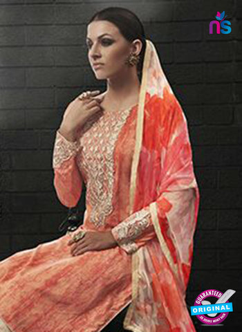 Az 2137 Orange Cambric Cotton Embroidery Pakistani Suit Online