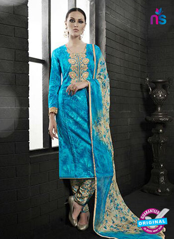 Az 2138 Sky Blue Cambric Cotton Embroidery Pakistani Suit