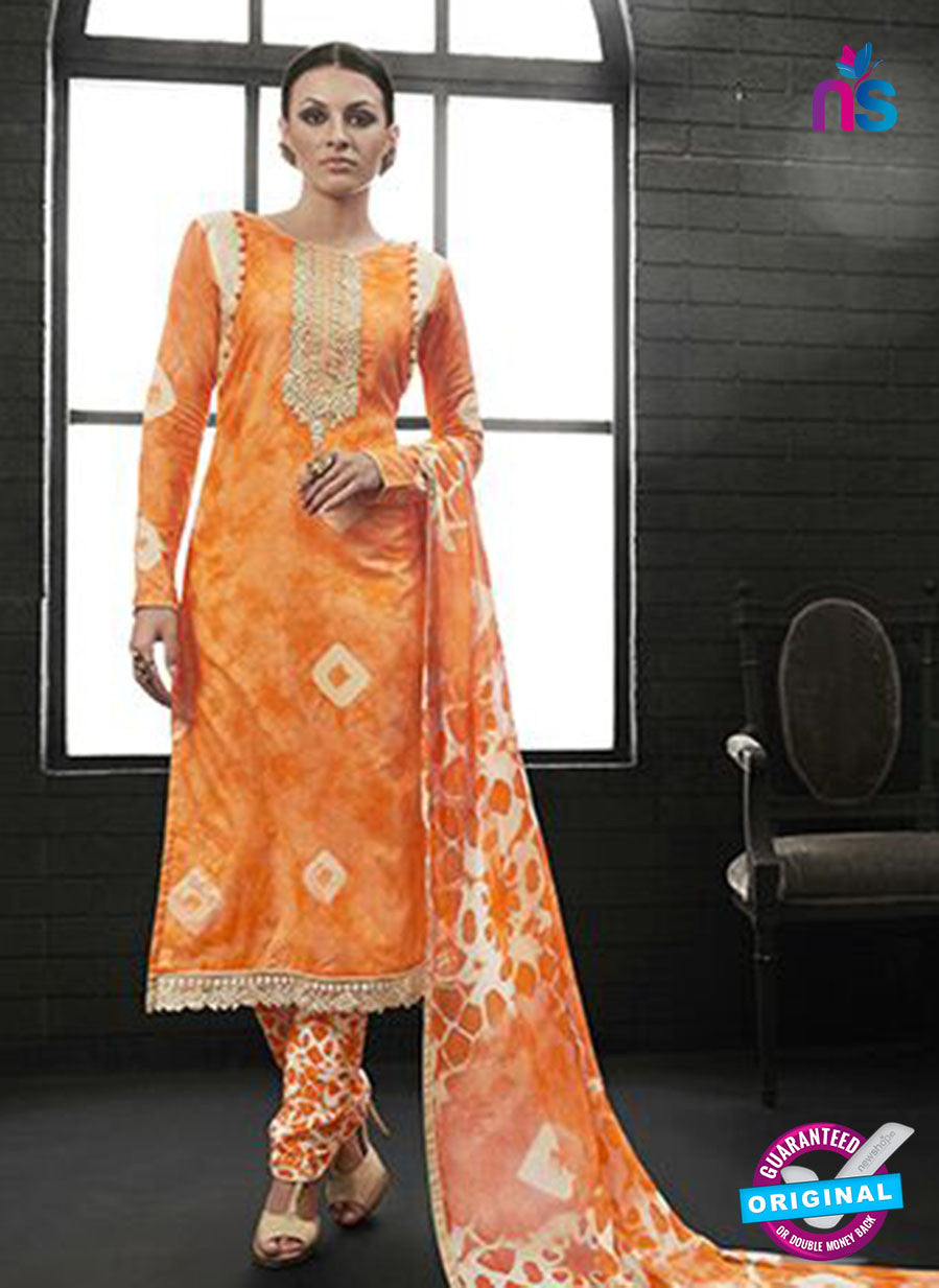 AZ 2139 Orange Cambric Cotton Embroidery Pakistani Suit