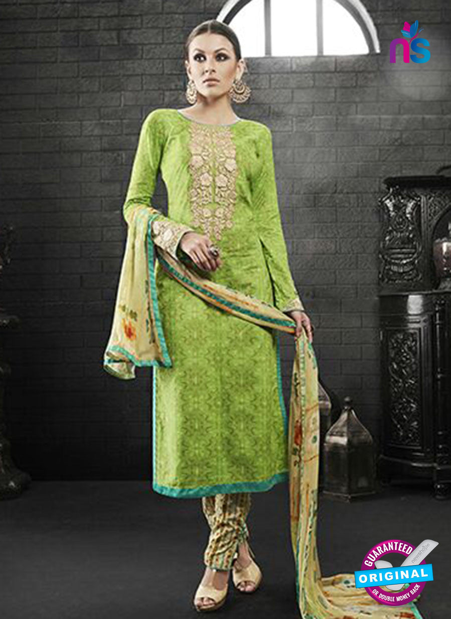 Az 2140 Green Cambric Cotton Embroidery Pakistani Suit