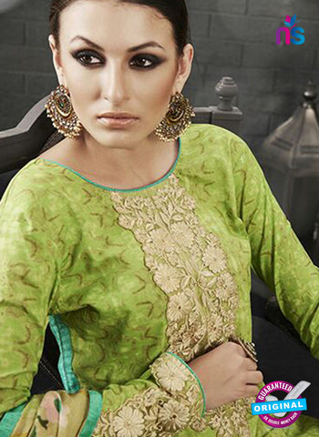 Az 2140 Green Cambric Cotton Embroidery Pakistani Suit Online