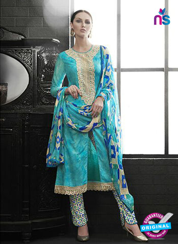Az 2142 Sea green Cambric Cotton Embroidery Pakistani Suit