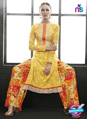 Az 2143 Yellow Cambric Cotton Embroidery Pakistani Suit Online