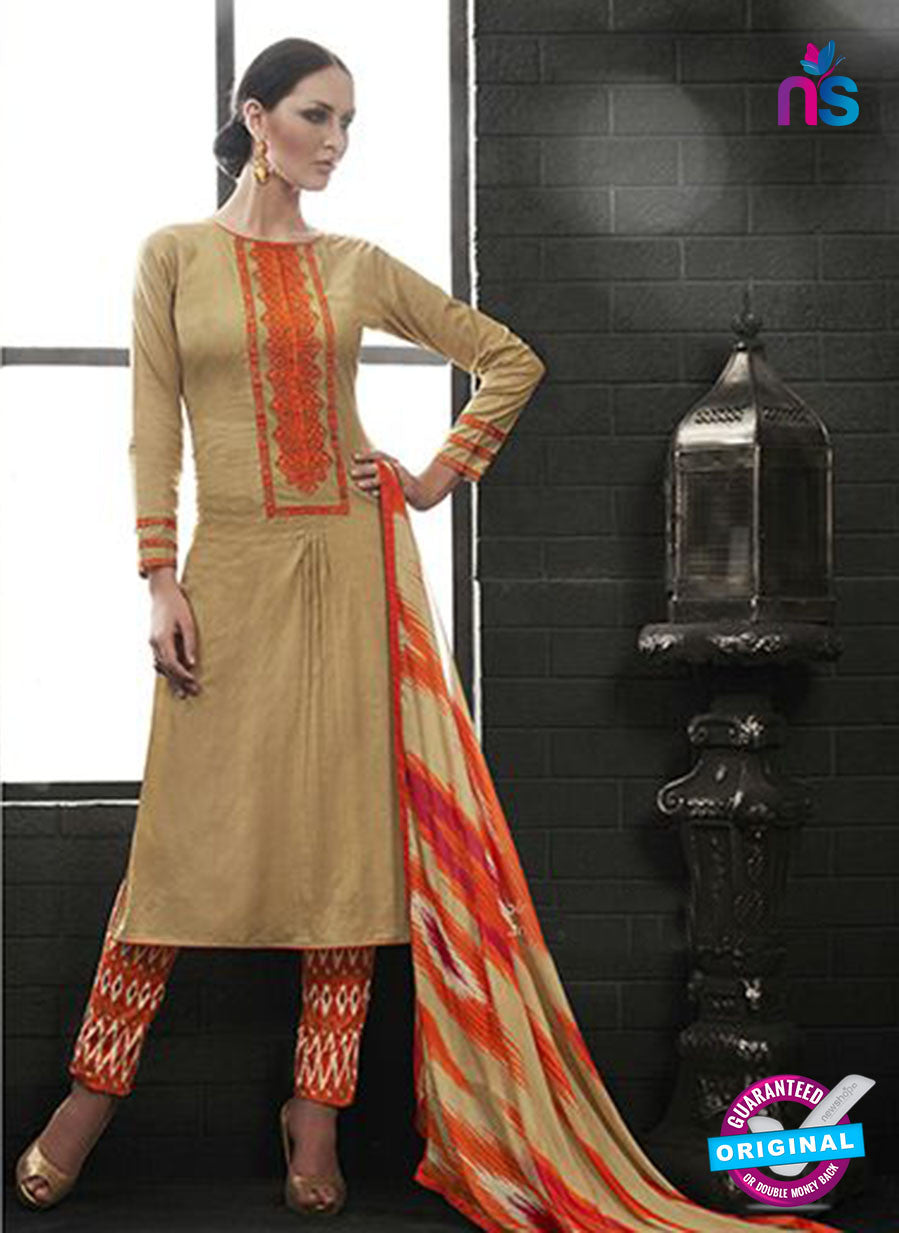 Az 2144 Beige Cambric Cotton Embroidery Pakistani Suit