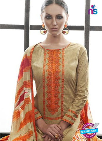Az 2144 Beige Cambric Cotton Embroidery Pakistani Suit Online